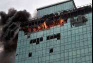 A blazing at Lotus Business Park Building at Andheri in Mumbai on Friday