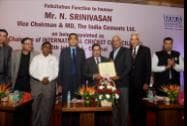 ICC Chairman N Srinivasan with former cricketer K Srikanth at a felicitation function by MMA & MCCI clubs in Chennai