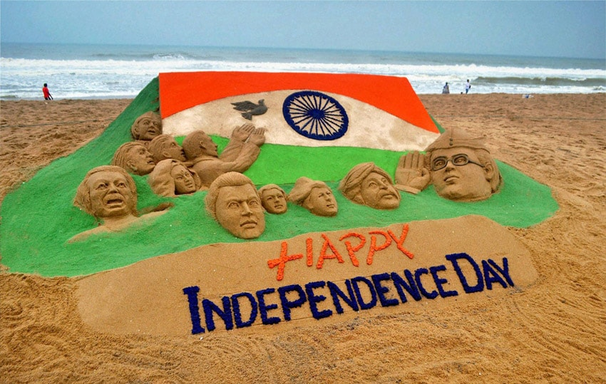 sand, sculpture,eve, Independance day, Puri beach