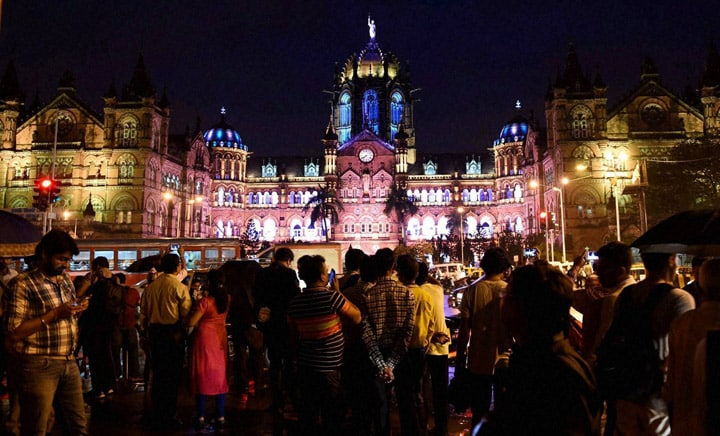 People, illuminated, Chatrapati Shivaji Terminus, eve, Independence Day