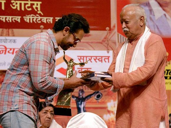 Aamir Khan, Mohan Bhagwat, Deenanath Mangeshkar Award