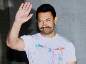 Aamir Khan during his 51st birthday celebrations at his residence in Mumbai
