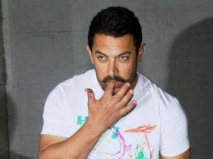 Actor Aamir Khan during_his 51st birthday celebrations at his residence in Mumbai