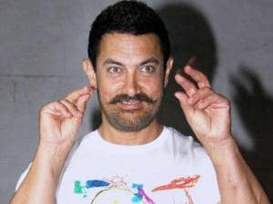 Actor Aamir Khan during his 51st birthday celebrations at his residence in Mumbai