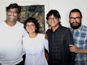 Aamir Khan along with his wife Kiran Rao and music composers Ajay Gogavale and Atul Gogavale during the launch of a music video shot by filmmaker Nagraj Manjule