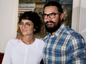 Aamir Khan along with his wife Kiran Rao during the launch of a music video shot by filmmaker Nagraj Manjule to announce the Satyamev Jayate Water Cup