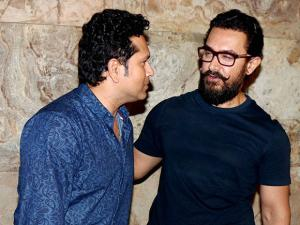 Aamir Khan with cricket legend Sachin Tendulkar at the special screening of the film, Dangal