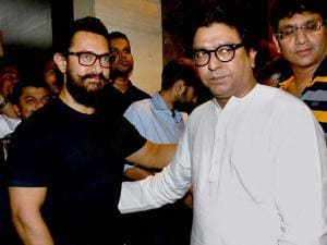 Aamir Khan with MNS president Raj Thackeray at the special screening of film Dangal
