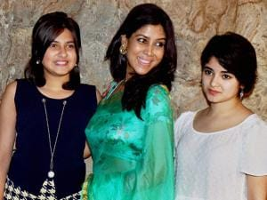 Sakshi Tanwar along with Zaira Wasim and Suhani Bhatnagar at the special screening of film Dangal