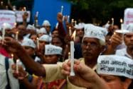 AAP workers protest against BJP government