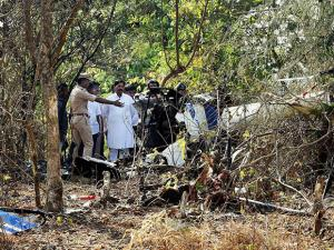 A view of a wreckage of a helicopter in Arey colony in Mumbai