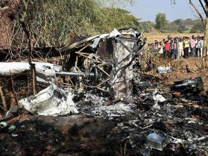 wreckage of a helicopter in Arey colony in Mumbai