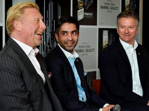 Tennis legend Boris Becker, ace shooter Abhinav Bindra, former Australian cricketer Steve Waugh during an event in New Delhi
