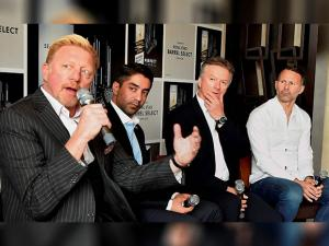Tennis legend Boris Becker, ace shooter Abhinav Bindra, former cricketer Steve Waugh and legendary Welsh footballer Ryan Giggs during an event in New Delhi