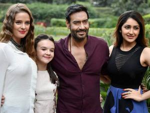 Ajay Devgn along with actress Sayesha Saigal, Erika Kaaras Olga and British child artist Abigail Eames
