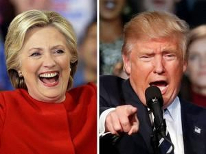 Democratic presidential candidate Hillary Clinton vs Republican presidential candidate Donald Trump