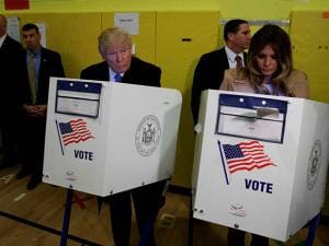 Donald Trump, and his wife Melania, casts their ballots at PS-59