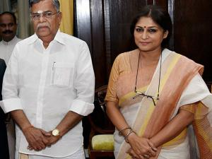 Newly inducted Rajya Sabha members L. Ganesan  and Roopa Ganguly after taking oath
