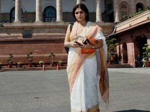Rajya Sabha member Roopa Ganguly at Parliament house after taking oath