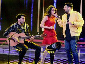 Aditya Roy Kapur and Shraddha Kapoor and singer Badshah perform during the promotion of their upcoming film 'Ok Jaanu'