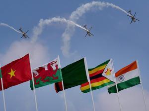 Indian Air Force's aerobatic team Sarang performs