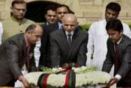Afghanistan's President Ashraf Ghani with MOS for Finance Jayant Sinha
