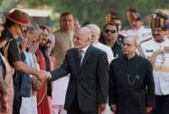Mohammad Ashraf Ghani President of Afghanistan with his Indian counterpart Pranab Mukherjee and Prime Minister Narendra Modi