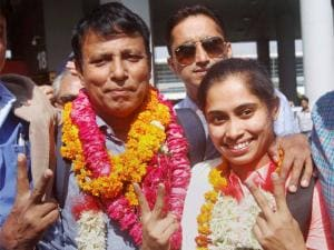 Gymnast Dipa Karmakar is welcomed upon her arrival_at IGI airport in New Delhi