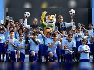 Union Sports Minister Vijay Goyal with All India Football Federation (AIFF) President Praful Patel during the launch of logo