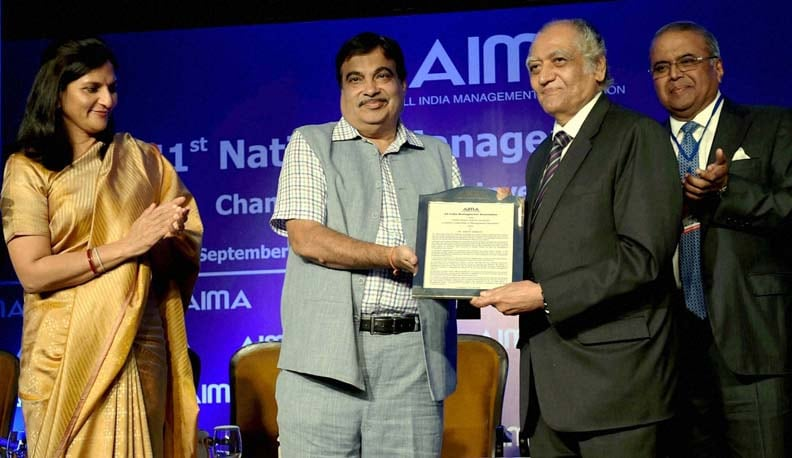 Minister of Shipping, Road Transport, Highways, Nitin Gadkari, Convention Chairman, Sudhir Jalan, Sr. Vice President, AIMA H M Nerukar