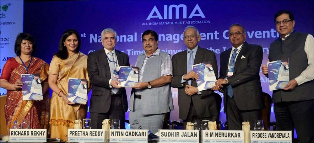 Minister of Shipping, Road Transport, Highways, Nitin Gadkari, AIMA President, Preetha Reddy, releases, publication, AIMA's, 41st National Management, Convention