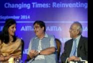 Minister of Shipping, Road Transport and Highways, Nitin Gadkari with AIMA President, Preetha Reddy and Convention Chairman, Sudhir Jalan