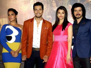 Actors Richa Chadda, Randeep Hooda, Aishwarya Rai Bachchan and Darshan Kumaar during the trailer launch of their upcoming film 'Sarbjit' in Mumbai.