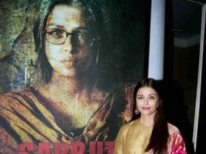 Actress Aishwarya Rai Bachchan during the first poster launch of Film Sarbjit