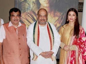 BJP President Amit Shah, Transport Minister Nitin Gadkari, actress Aishwarya Rai Bachchan during the frist poster launch of Film Sarbjit