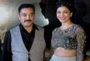 Bollywood actor Kamal Haasan with daughter and actress Shruti Hassan during the music launch of 'Shamitabh'.