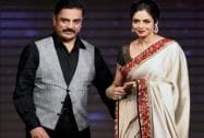 Bollywood actress Sri Devi along with actor Kamal Hasan during the music launch of film 'Shamitabh'.