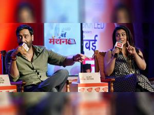 Ajay Devgn and his wife Kajol  during an interactive session