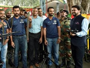 Lt Anurag Thakur, cricketers Rohit Sharma, Ajinkya Rahane, Kedar Jadhav and Manish Pandey spending time with the soldiers of 124 Sikh Battalion
