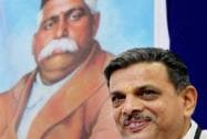 RSS Sahasarkaryavah Dattatray Hosabale interacts with the media after the inaugural session of Akhil Bharatiya Pratinidhi Sabha