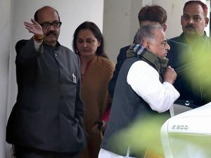 Mulayam Singh Yadav leaves to meet the  Election Commission