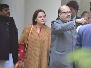 SP party supremo Mulayam Singh Yadav with   Amar Singh, Jaya Prada and Shivpal Yadav
