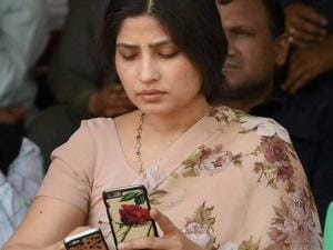 Dimple Yadav (MP) wife of Uttar Pradesh Chief Minister Akhilesh Yadav enjoying the cricket match between CM and IAS Eleven in Lucknow