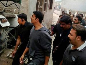 Akshay Kumar during shooting of a film in Nandgaon village, 60 km from Mathura