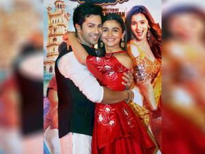Bollywood actors Varun Dhawan and Alia Bhatt during the trailer launch of their film Badrinath Ki Dulhaniya in Mumbai