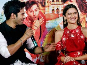 Varun Dhawan and Alia Bhatt during the trailer launch of their film Badrinath Ki Dulhaniya