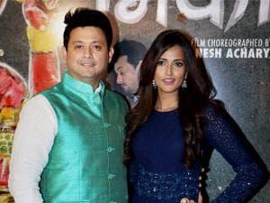 Rucha Inamdar and Swapnil Joshi during the song launch of Deva Deva