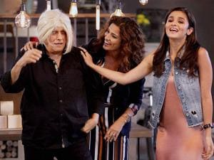 Mahesh Bhatt with Alia Bhatt and host Kamal Sidhu at the shoot of Vogue BFFs on Colors Infinity