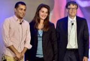 Bill Gates and Melinda Gates pose after conversation with author Chetan Bhagat