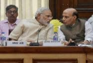 Prime Minister Narendra Modi with Home Minister Rajnath Singh